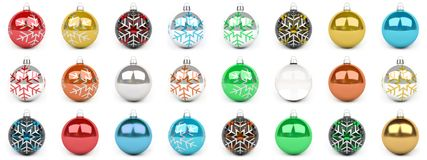 Colorful christmas bauble collection 3D rendering. Colorful christmas bauble collection on white background 3D rendering Royalty Free Stock Photo