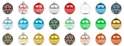 Colorful christmas bauble collection 3D rendering. Colorful christmas bauble collection on white background 3D rendering Royalty Free Stock Image