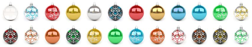 Colorful christmas bauble collection 3D rendering. Colorful christmas bauble collection on white background 3D rendering Stock Illustration