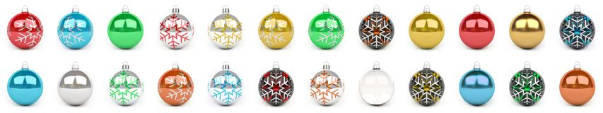 Colorful christmas bauble collection 3D rendering. Colorful christmas bauble collection on white background 3D rendering Stock Image