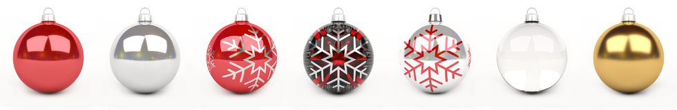 Colorful christmas bauble 3D rendering. Colorful christmas bauble lined up on white background 3D rendering Royalty Free Stock Photo
