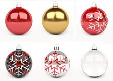 Colorful christmas bauble 3D rendering Stock Image