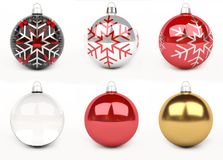 Colorful christmas bauble 3D rendering. Colorful christmas bauble lined up on white background 3D rendering Royalty Free Stock Images