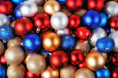 Colorful Christmas baubles background Royalty Free Stock Image