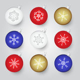 Colorful christmas baubles with snowflake ornament Royalty Free Stock Photography