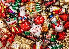 Colorful christmas baubles, toys and garlands Stock Photo