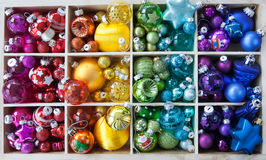 Colorful christmas baubles. Christmas baubles in various bright colors as a background Royalty Free Stock Photo