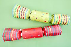 Colorful Christmas Bon Bons. A studio photo of christmas crackers Stock Photos