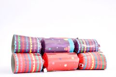 Colorful Christmas Bon Bons. A studio photo of christmas crackers Royalty Free Stock Photos
