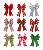 Colorful Christmas Bows. A set of colorful holiday bows isolation over white background Stock Photography