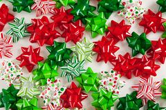 Colorful Christmas Bows. Assortment of colorful Christmas bows Stock Images