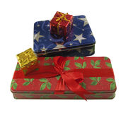 Colorful christmas boxes Stock Images