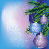 Colorful Christmas card. With branch of fir tree and christmas-tree decorations. Vector illustration royalty free illustration