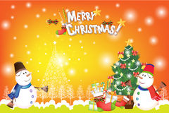 Colorful christmas card background with snowman and xmas decorations - vector eps10 Royalty Free Stock Photos