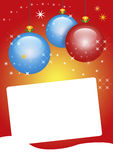 Colorful christmas card with copy space. Colorful red and orange christmas card with copy space for writing and blue and red glass balls Stock Photos