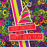 Colorful Christmas card and New Year greetings  illustration. With design elements , color splash Royalty Free Stock Photos