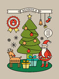 Colorful christmas cartoon illustration with outline style. Colorful christmas tree santa claus cartoon illustration with outline style Royalty Free Stock Image