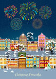 Colorful Christmas Celebration Template. With glowing sparkling fireworks and snowbound cityscape vector illustration Royalty Free Stock Images