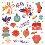 Colorful Christmas collection with holiday. Elements. Vector illustration Stock Image