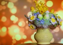 Easter, decorations, background, place for text. Colorful Christmas composition for Easter with beautiful blurry bokeh background, Poland stock images