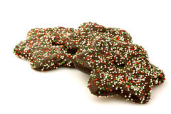 Colorful christmas cookies with chocolate Royalty Free Stock Photo