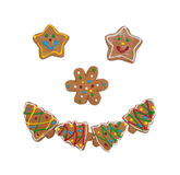 Colorful Christmas cookies forming a smiling face Royalty Free Stock Photo