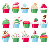 Colorful christmas cupcakes icons set. Sweet holiday bakery. Good for greeting poster banner advertising design Royalty Free Stock Image