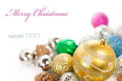 Colorful christmas decoration baubles. Isolated on white background with copy space for text Stock Photography