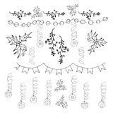 Colorful Christmas decoration, christmas bells and holly black on white  illustration. Colorful Christmas decoration, christmas bells and holly black on white Stock Photos