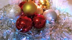 Colorful Christmas decoration ideas blue ,white balls silver garland,christmas light,decoration ,illumination ideas royalty free stock images