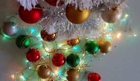 Colorful Christmas decoration ideas ,red green gold silver balls ,silver garland,christmas light,decoration ,illumination ideas. Colorful christmas ideas royalty free stock photography
