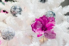 Colorful Christmas decoration on white tree Royalty Free Stock Images