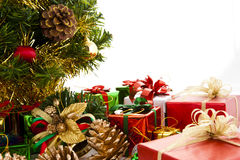 Colorful Christmas Decorations. On a White Background Stock Images
