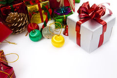 Colorful Christmas Decorations. On a White Background stock photo