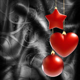 Colorful Christmas decorations. On black background stock illustration