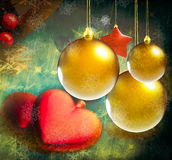 Colorful Christmas decorations. Picture in retro style vector illustration