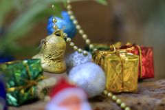 Colorful Christmas Decorations with Backlight Blurred Backgrounds.  royalty free stock photos