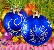 Colorful Christmas decorations closeup Stock Photos