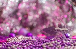 Colorful Christmas decorations with extreme shallow depth of field and colorful creamy bokeh. Art royalty free stock images