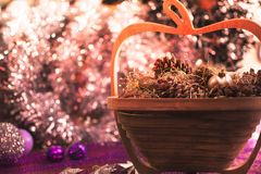 Colorful Christmas decorations with extreme shallow depth of field and colorful creamy bokeh. Art stock image