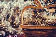 Colorful Christmas decorations with extreme shallow depth of field and colorful creamy bokeh. Art royalty free stock photography