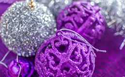 Colorful Christmas decorations with extreme shallow depth of field and colorful creamy bokeh. Art stock photo