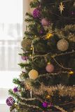 Colorful Christmas decorations with extreme shallow depth of field and colorful creamy bokeh. Art royalty free stock photos