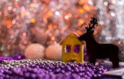 Colorful Christmas decorations with extreme shallow depth of field and colorful creamy bokeh. Art royalty free stock image