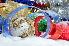 Colorful christmas decorations and gift boxes Royalty Free Stock Photos