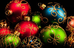 Colorful Christmas Decorations. Christmas Decorations in red, green and blue for a  lovely Christmas Card Royalty Free Stock Images