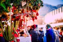 Christmas decorations on Trentino Alto Adige, Italy Christmas market stock images