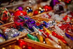 Christmas decorations on Trentino Alto Adige, Italy Christmas market royalty free stock photography
