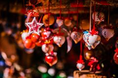 Christmas decorations on Trentino Alto Adige, Italy Christmas market royalty free stock images