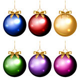 Colorful christmas decorations. Vector set of shiny colorful christmas decorations stock illustration